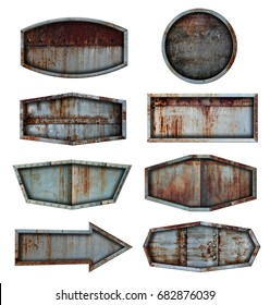 Old steel metal sign plate texture background isolated on white, With objects clipping path for design work