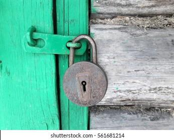 old steel padlock.