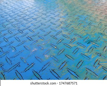 Old steel plate blue and Yellow color , Diamond steel plate , Use for background and wall paper