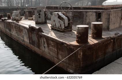 Old steel pontoon