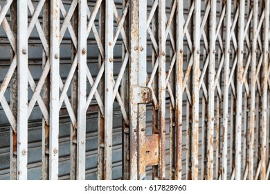 Old Steel Sliding Doors. Protective grille.