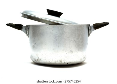 Old stew pan, cover loosely closed.