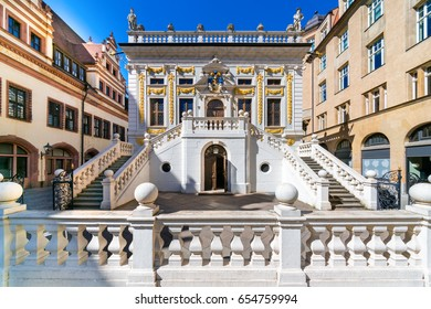The Old Stock Exchange (Alte Handelsboerse) in Leipzig, Germany. Built in the 17th century in early Baroque style, it served as a prestigious gathering-place for merchants.