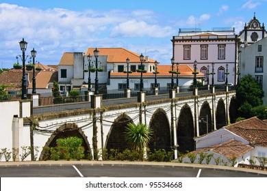 Old stone arch bridge in Nordeste village, Sao Miguel, Azores