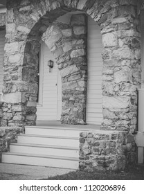 Old Stone archway on porch