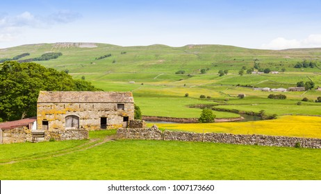 An old stone barn in the heart of England's Yorkshire Dales, near the town of Hawes.