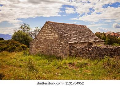 Old stone barn in Sumartin, Croatia.
