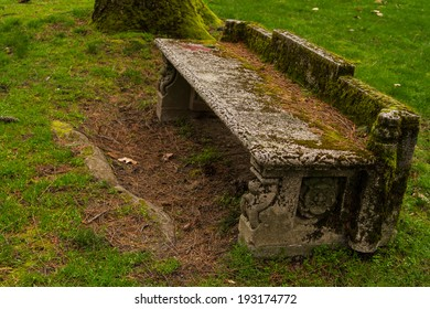 An Old Stone Bench, Covered in Moss