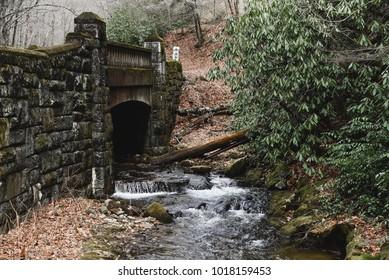 Old stone bridge in the Blue Ridge Mountains near Asheville North Carolina