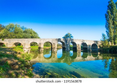 Old stone bridge on the river Dobra in Karlovac county, Croatia