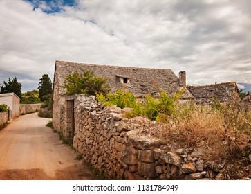 Old stone building on the island of Brac, Croatia.