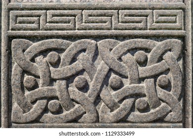 Old stone carved Celtic design symbol, Celtic knot