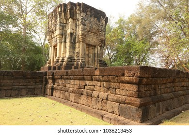 old stone castle in northeast of Thailand : Prsat ban phluang ( Ban phluang stone castle)