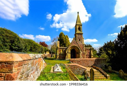 Old stone church and cemetery. Cemetery church. Church on cemetery. Old cemetery church