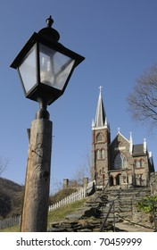 Old stone church and lamp post - Harpers Ferry, WV - St Peter's Catholic Church