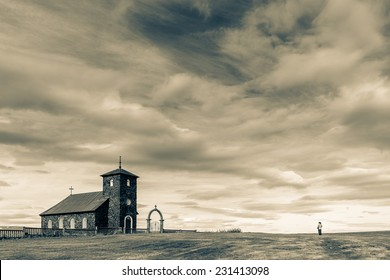 An old stone church in Northwest Iceland. Built in 1877. Toned image