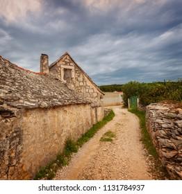 Old stone farm building on Brac island, Croatia.