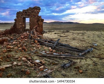 Old Stone Farmhouse Ruin Australian Outback Rural Sunset
