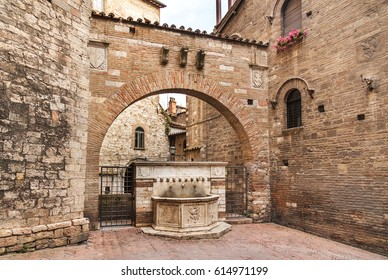 Old stone fountain in the streets of Perugia,italy