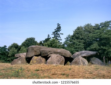 Old stone grave like a big dolmen in Drenthe, Holland. It is called in Dutch a Hunebed.