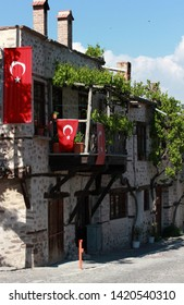 Old Stone House and Turkish Flag
