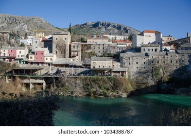 old stone houses in Mostar near river Neretva