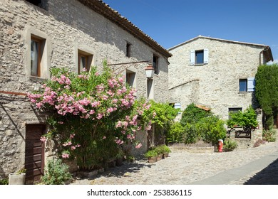 Old stone houses on street in traditional provence's style, Vaison-la-Romaine,  France