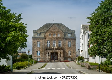 Old stone palace at Kristiansund town historical center, Norway.