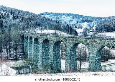 Old stone railway bridge near Krystofovo Udoli, Novina Viaduct was built between 1898 and 1900 in Czech Republic. The viaduct is 230 meters long and approximately 29 meters. - Shutterstock ID 1888302148