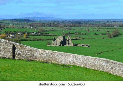 Old stone ruins of Hore Abbey as seen from the Rock of Cashel.