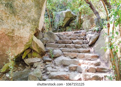 An old stone staircase among the stones in the park. Vorontsov Palace, Alupka, Crimea
