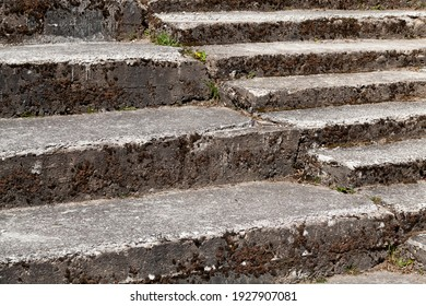 old stone staircase for the convenience of pedestrian traffic on elevated and other uneven surfaces, the old staircase is used for its intended purpose