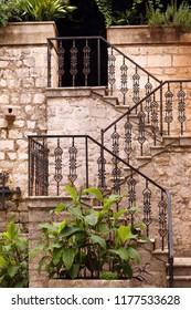 old stone staircase detail Kotor town Montenegro