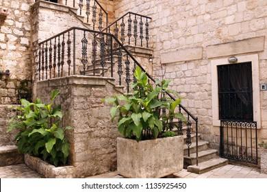 old stone staircase Kotor town Montenegro