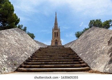 The old stone stairs leading to the traditional church on Addolorata Cemetery in Malta near Valletta.