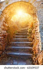 Old stone stairways to the Palamidi fortress, Nafplio, Greece