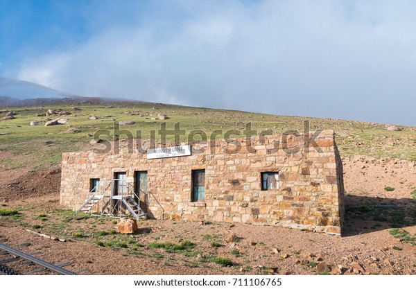 old stone station house building now abandoned along historic cog railway near summit of pikes peak colorado usa