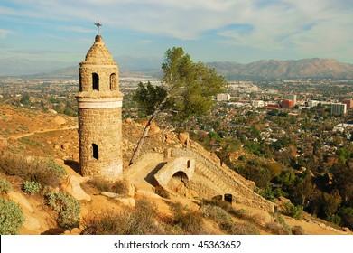 Old stone tower and bridge; Mount Rubidoux; Riverside, California