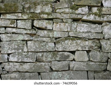 Old stone wall close up