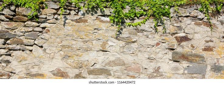 Old stone wall, graffiti wall