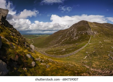 Old stone wall in Mourne mountains, Northern Ireland