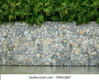 old stone wall with palm leaf in garden