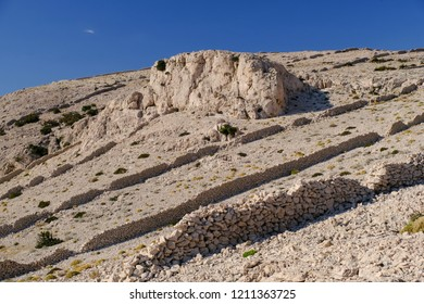 Old stone walls on Pag island in Croatia