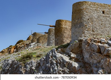 Old stone windmills near lasithi plateau