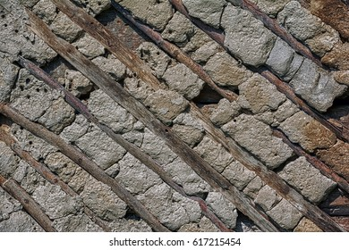 Old stone and wood wall texture background