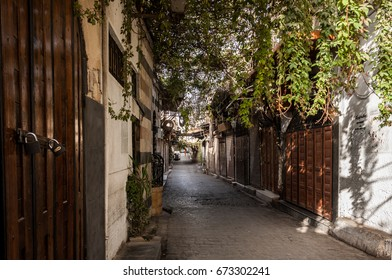 Old stones lane in Ancient City of Damascus (Syrian Arab Republic) before the war
