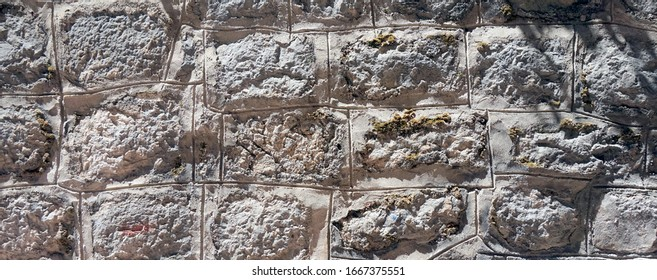 Old stones wall, panoramic photo, background