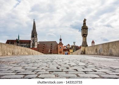 Old stony bridge in Regensburg