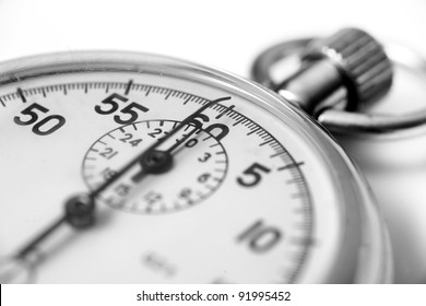 Old stopwatch closeup with selective focus.