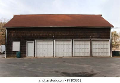 Old storage barn with four large doors